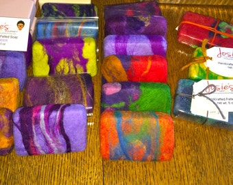 Colourful felted soaps, 2 bars, shea butter based with merino wool, scented