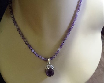 One strand faceted amythyst necklace with sterling silver amythyst pendant