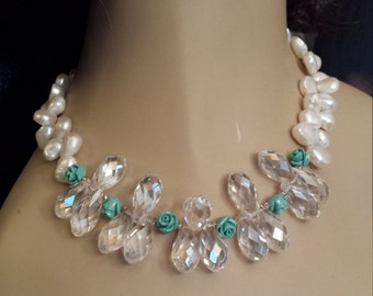 Freshwater pearl, turquoise and faceted crystal teardrop necklace