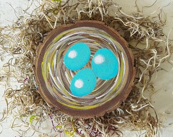 Bird Nest with Eggs Painting, Rustic Home Decor, Robin Egg Blue, Wood Wall Art, Wood Signs, Bird Painting, Woodland Nursery, Woodsy Wedding