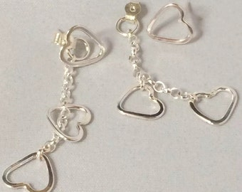 Three heart drop earrings