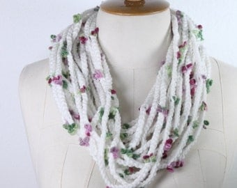 Cable knitting flowers ,Scarf Knit Infinity Scarf, Womens Knit