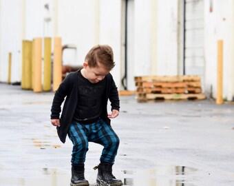 Blue & Black Buffalo Plaid Leggings or Harems - Baby Pants - Toddler Pants - Baby Leggings - Baby Joggers - Toddler Leggings - Kids Clothes