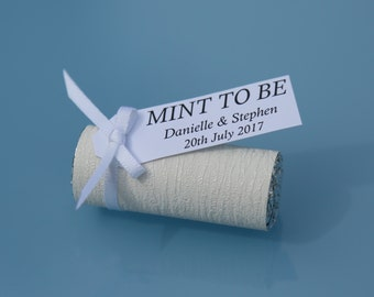 10 Luxury Personalised Wedding Favors Sweets Mints *Mint To Be* White
