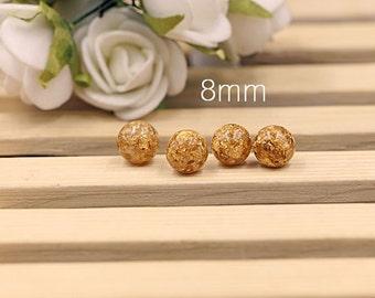 20 Pcs of Gold Foil Beads, 8 mm