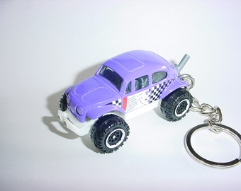 3D Volkswagen Beetle custom keychain by Brian Thornton keyring key chain finished in purple color racing trim bug diecast metal body 4x4 vw