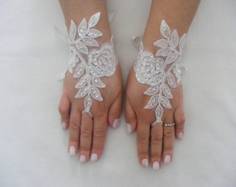 Ivory Sequined Lace Handmade Medium Lenght Fingerless Wedding Gloves With Silk Ribbons