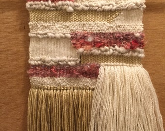 Mauve, Cream, and Tan Handwoven Tapestry - Wool/Acrylic/Silk Wall Hanging