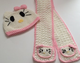 Crochet Hello Kitty Hat and Scarf Set