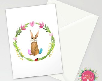 Card with Envelope - Flower Power Bunny