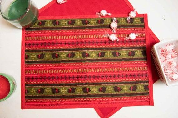 Handmade Christmas Bears /Stripes / Trees Placemat Set