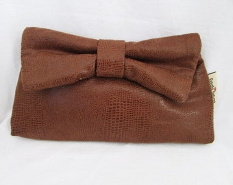 Brown Pleather Bowtie Clutch
