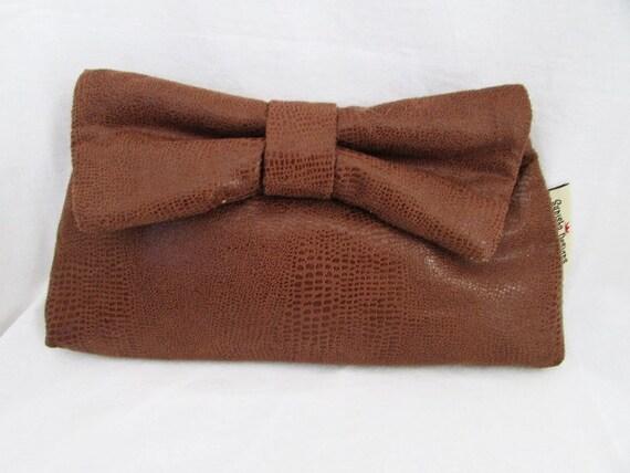 Brown Pleather Bowtie Clutch
