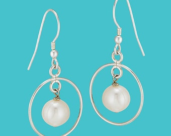 Sterling Silver Encircled Pearl Dangles - White