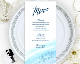 Sea themed menu cards printed on shimmer cardstock | Destination wedding menus | Printed dinner menu cards | Personalized wedding menu