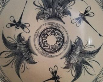 Boho Pottery - DRAGONFLY - Stoneware Bowl - Hand Painted - Indigo - Thrown Pottery - Hip -  Pottery Bowl - Fruit Bowl - French Flea Market