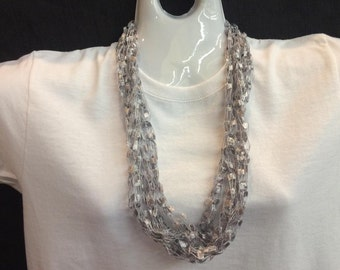Silver crocheted ribbon necklace #90