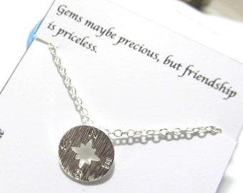 B2-Compass Bracelet, Nautical Bracelet, Dainty Bracelet, Everyday Bracelet, Best Friend Gift, Gift For Friend, Friendship quote