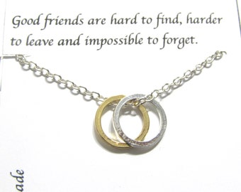 Best Friend Necklace Karma necklace | Silver A5 Twin Circle | Best Friend Gift, Twin Circle Necklace,  Gift For Friend, Birthday Gift