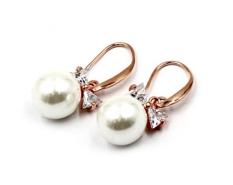 Elegant crystal ties pearl earrings