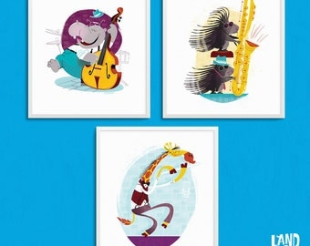 animals playing instruments art for kids bedrooms, art print set, kids bedroom wall art, art for kids, kids bedroom decor