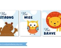 Jungle Animals Nursery Art Prints. Be Brave Quotes. Children Bedroom Decor. 5x7, 8x10, 11x14, 13x19 Print. Select a Size. Item 073