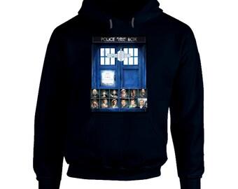 Dr Who - 12 Autographs - NAVY Hoodie, tardis, sci-fi, tv, fantasy, peter capaldi, matt smith, david tennant
