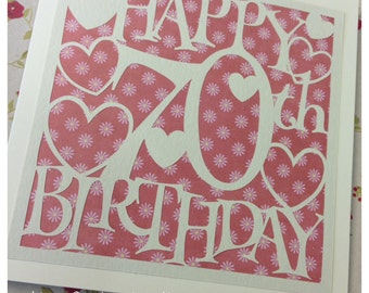 70th Birthday Hearts Paper Cutting Template - Commercial Use