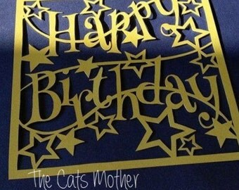 Happy Birthday Stars Paper Cutting Template - Commercial Use