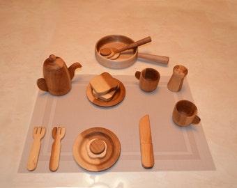 Set of Wooden Utensils for Children.