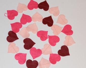 Heart Garland, Heart Bunting, Hearts, Red, Pink, Maroon, love, Valentine, Felt garland