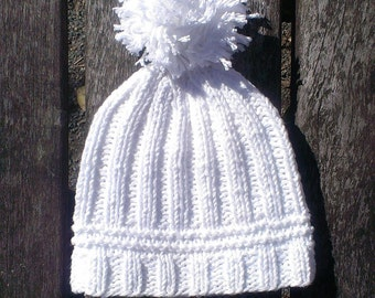 white knit baby hat knit cotton white pom pom hat knit baby white cotton hat knit baby gift baby shower gift newborn cotton white kids hat