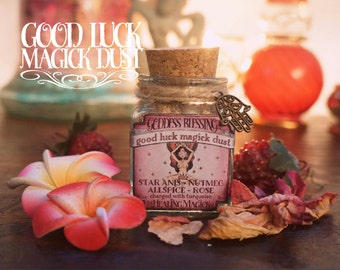 Good Luck Incense *Goddess Blessing* Witchcraft Magick Dust with herbs, resins and crystals - Nutmeg, Anise, Rose, Allspice & Turquoise
