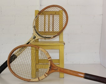 two vintage tennis racquets