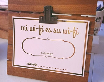 Gold Foil Wifi Sign - HomeAway, AirBnB, Home Decor Print