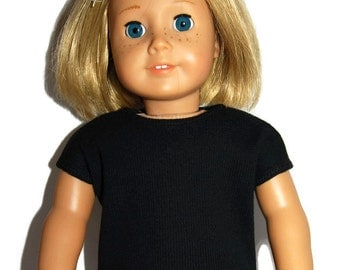 "Black Ribbed Knit Tee Shirt - Doll Clothes made to fit 18"" American Girl Dolls"
