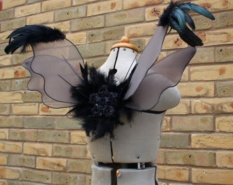 Dark Fairy - Gothic Grey/Black Feather Fairy Wings - Costume/Fairy - Faerie Cosplay/Wearable Wings