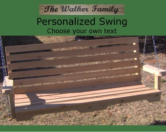 New Personalized 4 Foot Cedar Wood Country Style Porch Swing - Choice of Name or Phrase Woodburned On Swing - Hanging Rope - Free Shipping