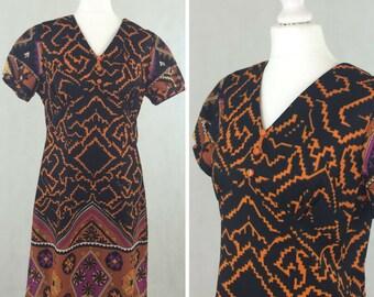 1960s Aztec Print Mini Dress