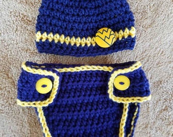 Newborn WVU West Virginia Hat & Diaper Cover Photo Prop -Ready to Ship WV