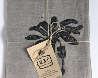Tropical hand stamped linen kitchen towel - set of two