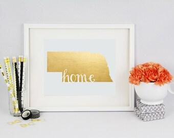 """Nebraska """"Home"""" State Foil Prints"""