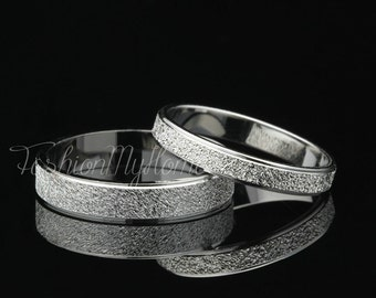 2pcs Couples Rings Set,Solid Sterling Silver Ring,Frosted Ring,Custom Engraving,Wedding Ring Set,His And Her Promise Rings,Best Gift