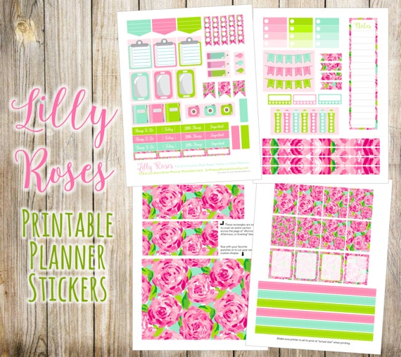 Lilly Roses {First Impression} Printable Planner Stickers - 4 Full Pages!  Made to fit Erin Condren, Plum Paper, Filofax and other planners.