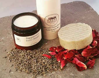 Oatmeal Deluxe Spa Gift Set - Solid Lotion Bar - Peppermint foot cream - Face Elixir  - Oatmeal Soap