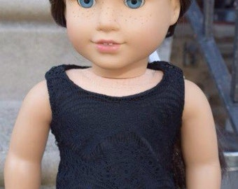 Black lace overlay tank top American Girl doll clothes