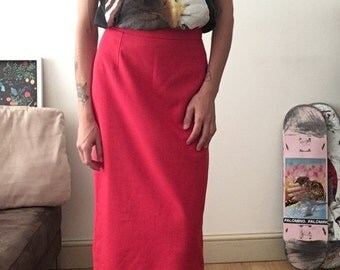 Red Skirt / Pencil Skirt / High Waisted / Tailored Skirt