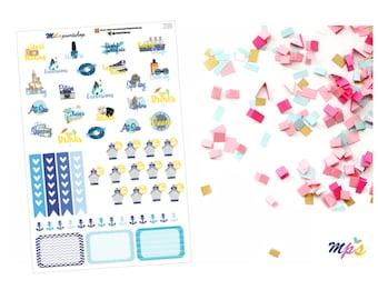 Cruise Vacation Sampler Die Cut Planner Sticker, 54 stickers per sheet - 224
