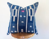 HOLD FOR HEATHER Authentic African Indigo Ikat Textile Pillow Cover
