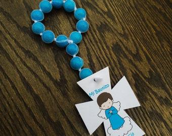 Baptism Favor edible gumball rosary Recuerdo de Bautizo Rosario de chicles